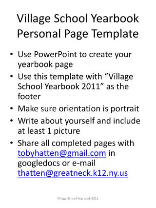 Town School Yearbook Personal Page Template