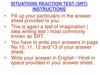 Circumstances REACTION TEST SRT INSTRUCTIONS