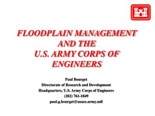 FLOODPLAIN MANAGEMENT AND THE U.S. Armed force CORPS OF ENGINEERS