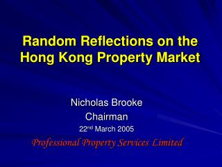 Irregular Reflections on the Hong Kong Property Market