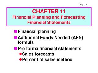 Section 11 Financial Planning and Forecasting Financial Statements