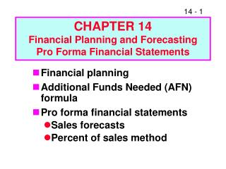 Section 14 Financial Planning and Forecasting Pro Forma ...