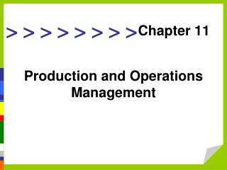 Creation and Operations Management