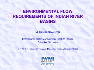 Ecological FLOW REQUIREMENTS OF INDIAN RIVER BASINS
