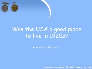 Was the USA a decent place to live in 1920s