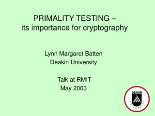 PRIMALITY TESTING its significance for cryptography