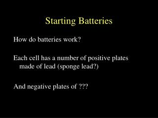 Beginning Batteries