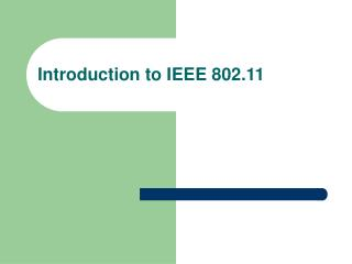 Prologue to IEEE 802.11