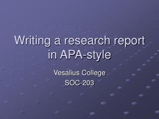 Composing an exploration report in APA-style