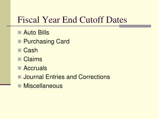 Financial Year End Cutoff Dates
