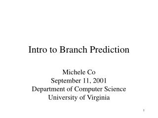 Introduction to Branch Prediction