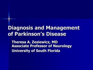 Finding and Management of Parkinson