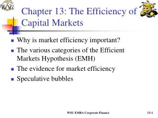 Section 13: The Efficiency of Capital Markets