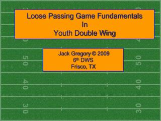 Free Passing Game Fundamentals In Youth Double Wing