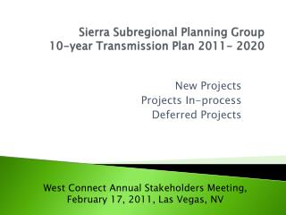 Sierra Subregional Planning Group 10-year Transmission Plan 2011-2020