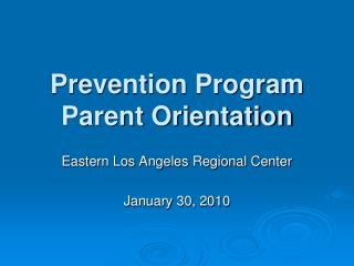 Counteractive action Program Parent Orientation