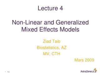 Address 4 Non-Linear and Generalized Mixed Effects Models