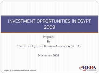 Venture OPPORTUNITIES IN EGYPT 2009