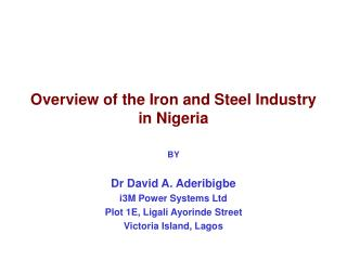 Diagram of the Iron and Steel Industry in Nigeria