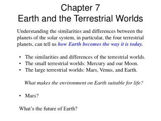 Section 7 Earth and the Terrestrial Worlds