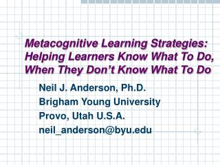 Metacognitive Learning Strategies: Helping Learners Know What To ...