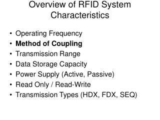 Outline of RFID System Characteristics