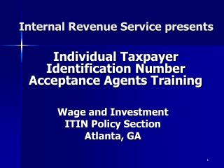 Inside Revenue Service presents