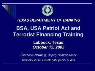 BSA, USA Patriot Act and Terrorist Financing Training
