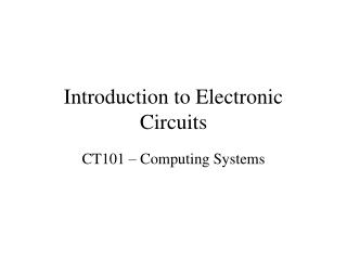 Prologue to Electronic Circuits