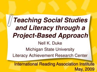 Showing Social Studies and Literacy through a Project-Based Approach
