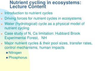 Supplement cycling in biological systems: Lecture Content