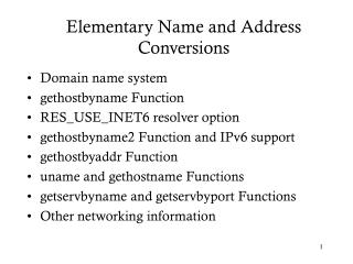 Rudimentary Name and Address Conversions