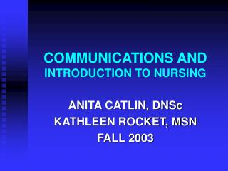 Correspondences AND INTRODUCTION TO NURSING