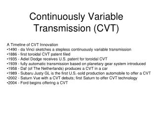 Persistently Variable Transmission CVT