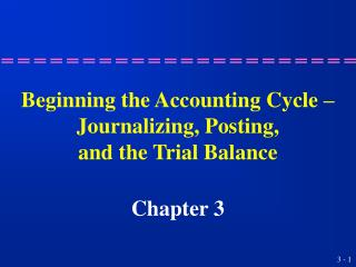Starting the Accounting Cycle Journalizing, Posting, and the Trial Balance