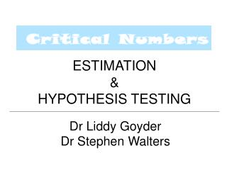 ESTIMATION HYPOTHESIS TESTING