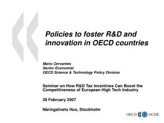 Arrangements to cultivate RD and advancement in OECD nations