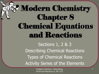 Advanced Chemistry Chapter 8 Chemical Equations and Reactions