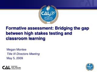 Developmental evaluation: Bridging the hole between high stakes testing and classroom learning