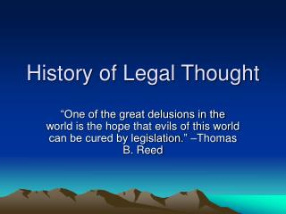 History of Legal Thought