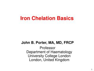 Iron Chelation Basics