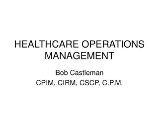 Human services OPERATIONS MANAGEMENT