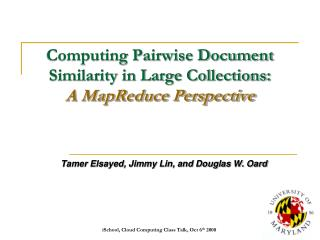Processing Pairwise Document Similarity in Large Collections: A MapReduce Perspective