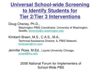 Screening to Identify Students for Tier 2/Tier 3 Interventions