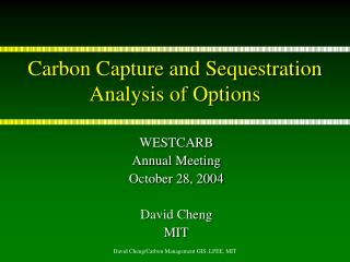 Carbon Capture and Sequestration Analysis of Options