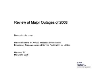 Survey of Major Outages of 2008