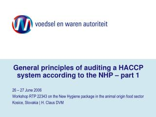 General standards of inspecting a HACCP framework as indicated by the NHP section 1