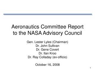 Aviation Committee Report to the NASA Advisory Council