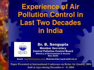 Essential Act DEALING WITH AIR POLLUTION CONTROL IN INDIA