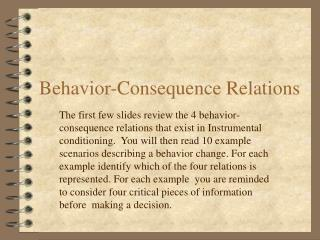 Conduct Consequence Relations